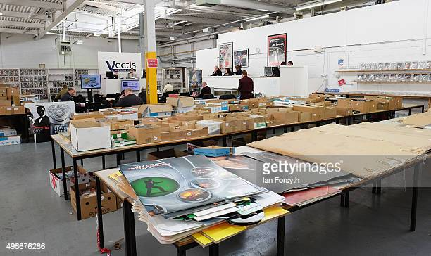 Hundreds of collectors items are displayed during a James Bond memorabilia auction on November 25 2015 in StocktononTees England Around 700 lots of...