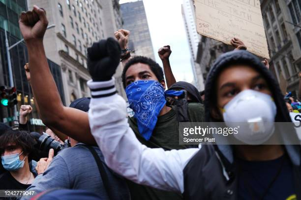 Hundreds of demonstrators again take to the streets of Manhattan to show anger at the police killing of George Floyd on June 02 2020 in New York City...