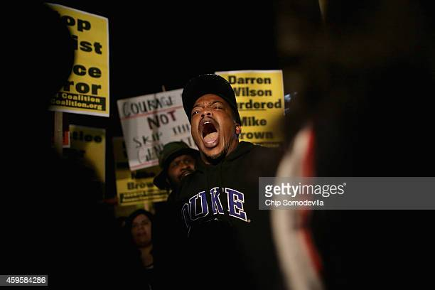Hundreds of demonstrators gather to protest the day after the Ferguson grand jury decision to not indict officer Darren Wilson in the Michael Brown...