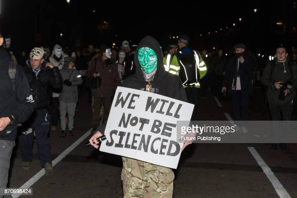 Hundreds of demonstrators gather to take part in the annual 'Million Mask March' organised since 2011 by the Anonymous UK collective on November 5...
