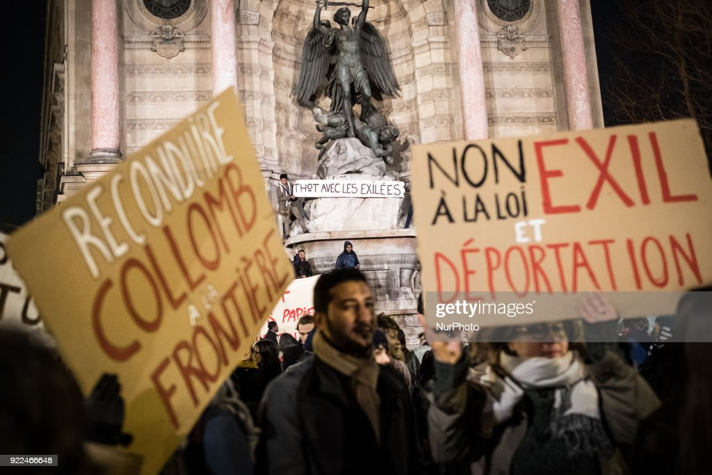 Hundreds of demonstrators gathered at Place Saint-Michel in Paris, France, on 21 February 2018 to protest against the asylum bill proposed by French Interior Minister Gérard Collomb.