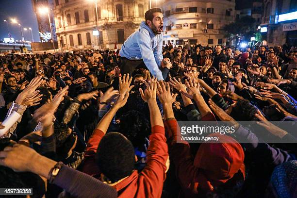 Hundreds of Egyptian people protest the court verdict dropping charges against former Egyptian president Hosni Mubarak that he incited the killing of...