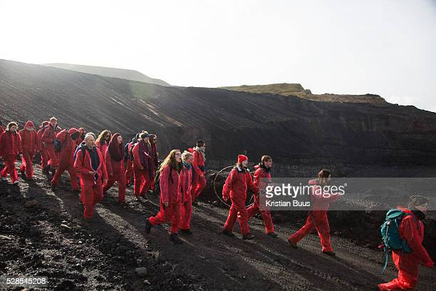 Hundreds of environmental activists stopping the open cast coal mine FfosyFran near Merthyr Tydfil Wales from operating May 3rd 2016 Unchallenged by...