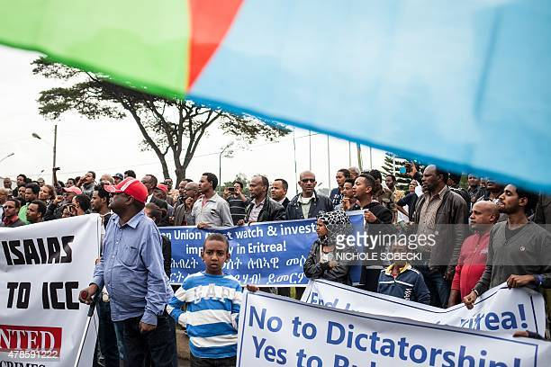 Hundreds of Eritreans demonstrate in front of the African Union headquarters in support of the UN Inquiry report and asking for measures to be taken...