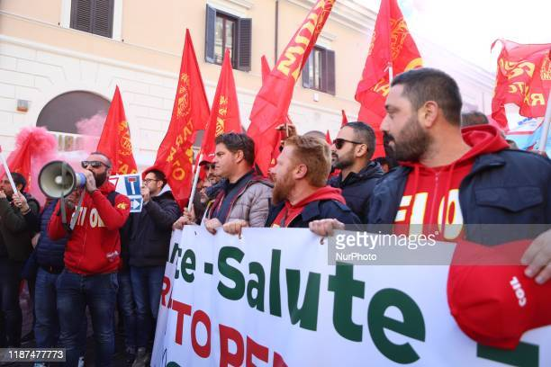 Hundreds of exIlva workers from Taranto protest in Piazza Santi Apostoli in Rome Italy on 10 September 2019 The goal is to reach an agreement with...
