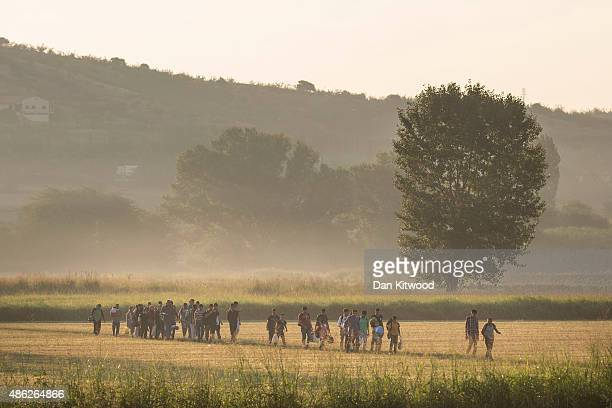 Hundreds of families walk the final few kilometers through fields towards the Macedonian border to have their papers processed before crossing on...