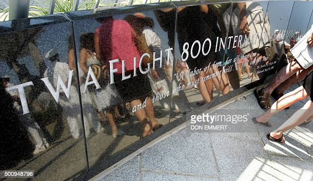 Hundreds of family members and friends gather at the memorial for TWA Flight 800 on Monday 17 July 2006 at Smith Point Park in Shirley New York...