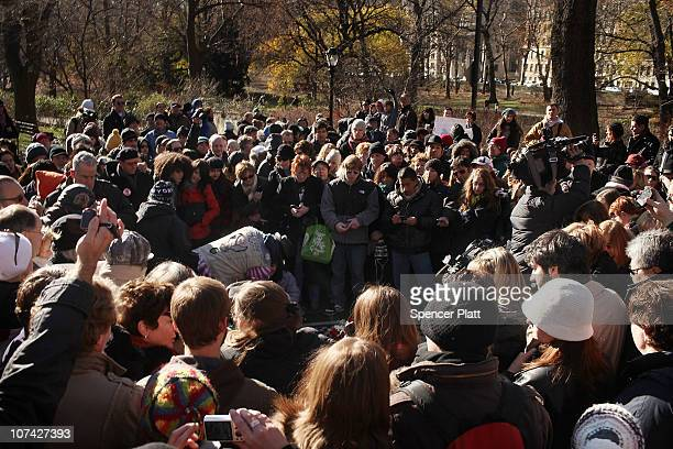 Hundreds of fans gather at Strawberry Fields in Central Park to commemorate the 30th anniversary of the death of John Lennon on December 8 2010 in...