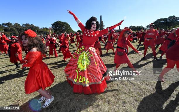 Hundreds of fans of Kate Bush dance in park on July 14, 2018 in Sydney, Australia. The Most Wuthering Heights Day is when people all around the world...