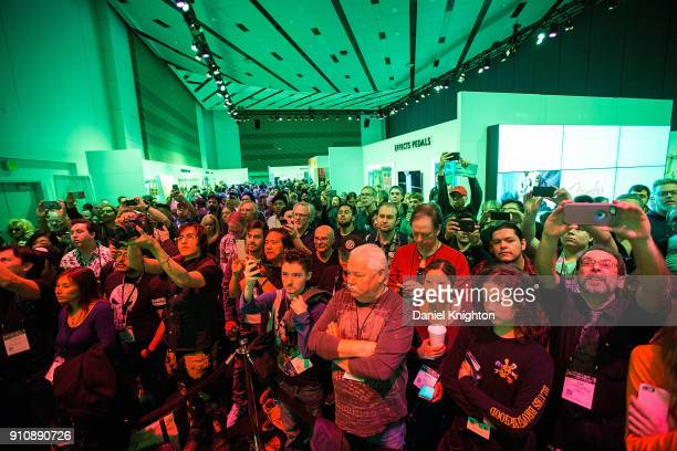 Hundreds of fans wait for guitarist Eric Johnson to hold a press event at the Fender booth at The 2018 NAMM Show at Anaheim Convention Center on...