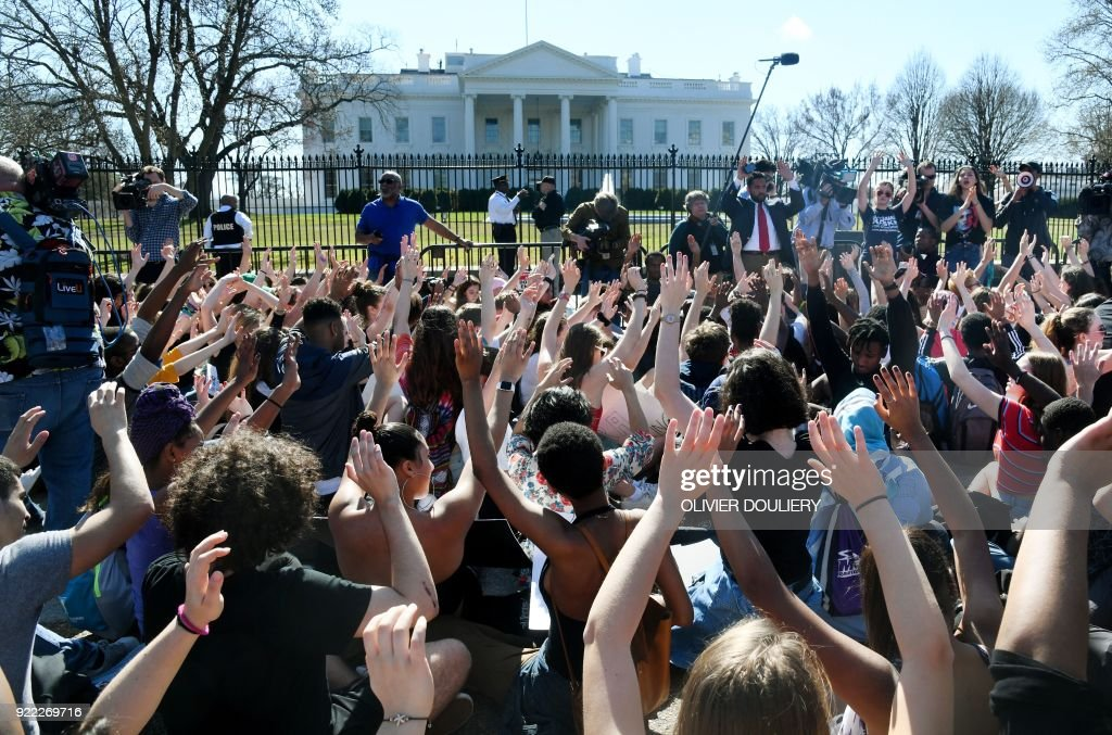 Hundreds of high school and middle school students from the District of Columbia, Maryland and Virginia staged walkouts and gather in front of the White House in support of gun control in the wake ...