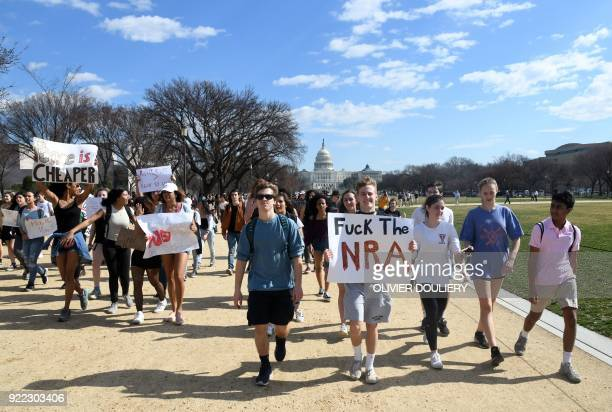 Hundreds of high school and middle school students from the District of Columbia Maryland and Virginia staged walkouts and gathered in front of...