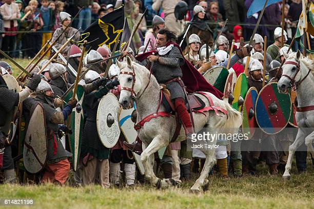 Hundreds of historical reenactors take part in a reenactment of the Battle of Hastings on October 15 2016 in Battle England Reenactors have gathered...