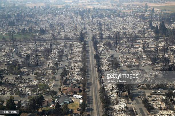 Hundreds of homes in the Coffey Park neighborhood that were destroyed by the Tubbs Fire on October 11 2017 in Santa Rosa California At least 21...