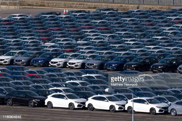 Hundreds of Honda cars built at the Swindon Honda plant ready for export at the Port of Southampton on February 10 2019 in Southampton England The...