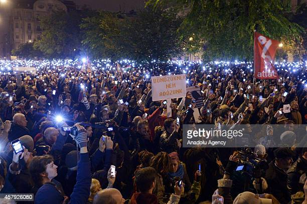 Hundreds of Hungarian protest against the government's new tax plan for the introduction of the internet tax next year in front of Economy Ministry...