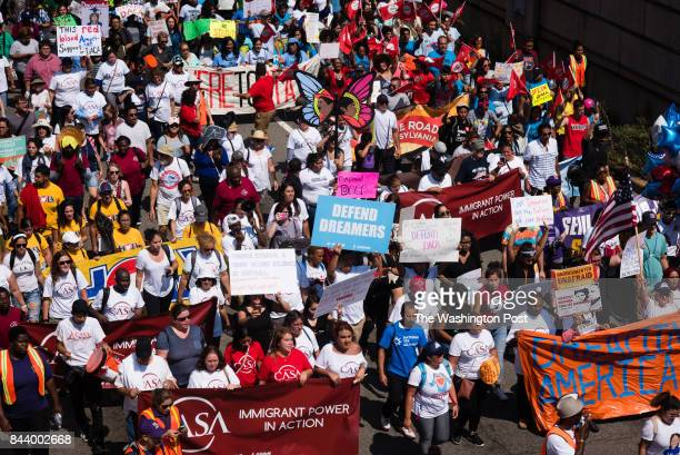 Hundreds of immigrant advocates gathered at the White House and marched through downtown streets on Tuesday September 5 2017 to defend DACA and TPS...