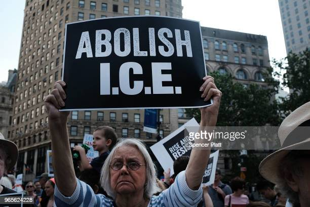 Hundreds of immigrant rights advocates and others participate in rally and and demonstration at the Federal Building in lower Manhattan against the...