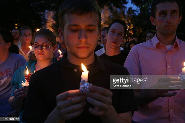 Hundreds of individuals from the Jewish community gathered for a candlelight vigil for the shooting in a Tel Aviv LGBT youth centre on August 3 2009...