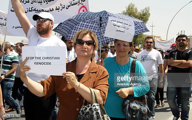 Hundreds of Iraqi Christians have marched on United Nations offices in Erbil the capital of the countrys Kurdish region demanding protection from...