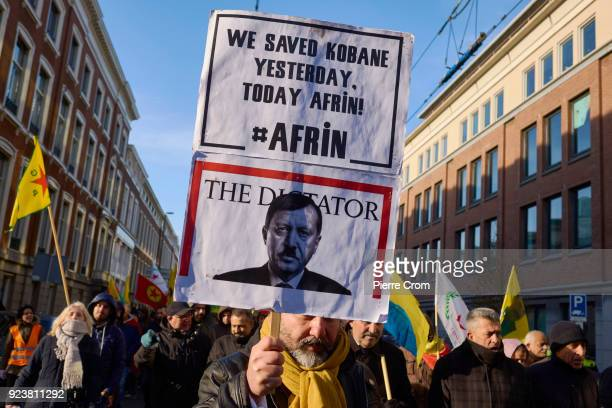 Hundreds of Kurdish protesters march during a rally against the attack on Afrin in Syria by armed forces led by Turkey on February 24 2018 in The...