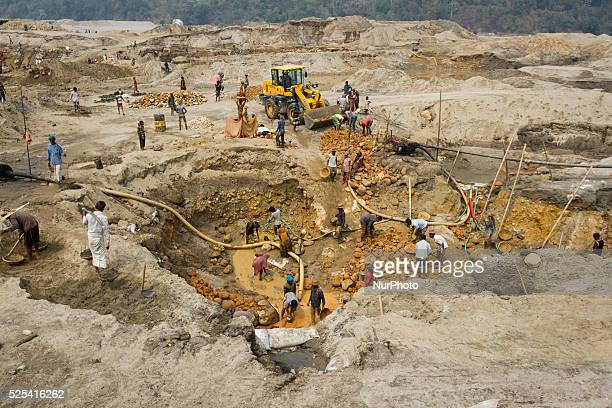 Hundreds of labors are working to extract stone from the reservoir in Sylhet Bangladesh on February 28 2015 Sylhet is a very resourceful place of...