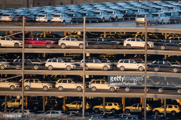 Hundreds of Land Rovers, made by British multinational car manufacturer Jaguar Land Rover, in a multi-storey car park awaiting shipping at the Port...