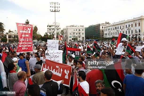 Hundreds of Libyans gather in Martyrs Square to protest against an extended mandate of the General National Congress on November 9 2013 in Tripoli...