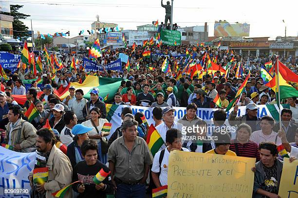 Hundreds of locals take part in a demonstration against the forthcoming referendum in downtown Santa Cruz Bolivia on May 2 2008 Next May 4th the...
