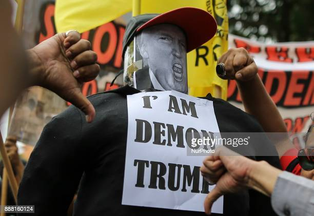 Hundreds of Malaysia Muslim gather outside the US embassy in Kuala Lumpur to protest against US President Donald Trump decision to recognise...