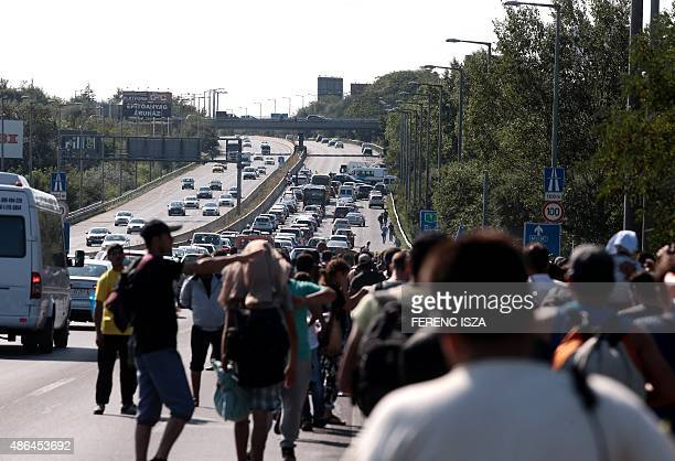 Hundreds of migrants walk on a highway after leaving the transit zone of the Budapest main train station on September 4 2015 intenting on walking to...