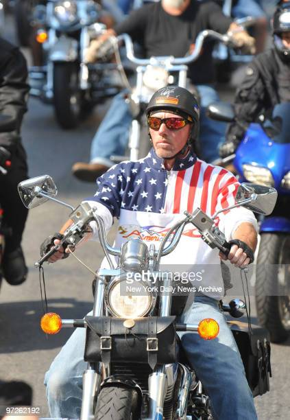 Hundreds of Motorcycles riders drive past Ground Zero as the 7th Annual Independence Ride Kicks off on Church Street in Lower Manhattan. Money raised...