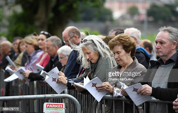 Hundreds of mourners attend the funeral of the late retired Bishop of Derry Dr Edward Daly at St Eugene's Cathedral on August 11 2016 in Londonderry...