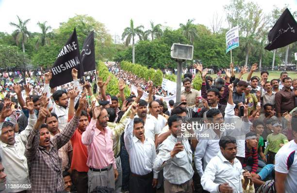 Hundreds of Muslims attended the protest march at Lucknow on Sunday, April 2 against the Saudi Arabian interference in Bahrain and killing of...