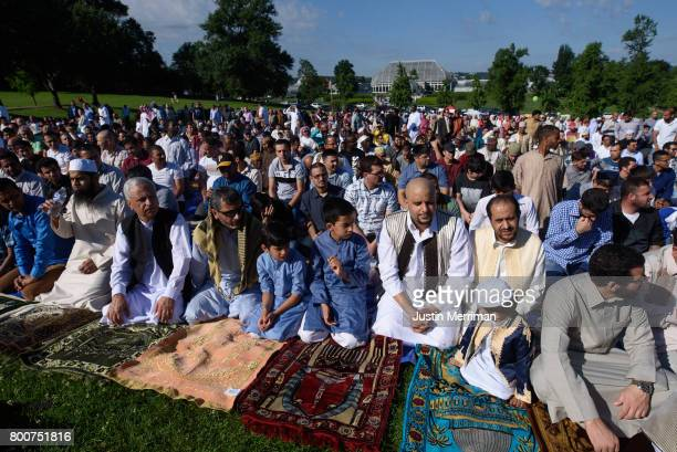 Hundreds of Muslims gather in prayer to celebrate Eid alFitr which marks the end of Ramadan on June 25 2017 in Pittsburgh Pennsylvania The...