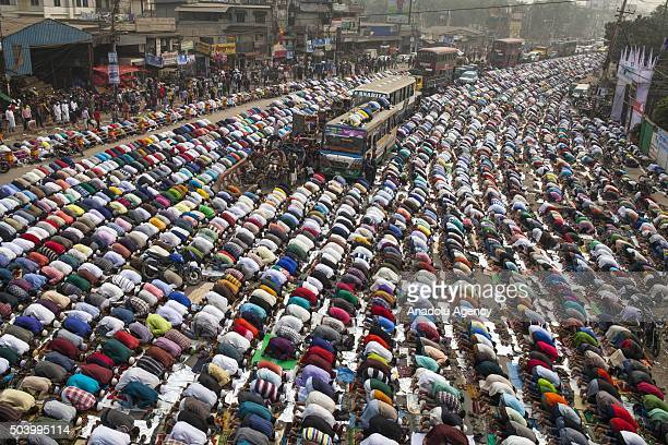 Hundreds of Muslims take friday prayers in congregation grounds as Muslims take part in Biswa Istema the second largest religious gathering of...