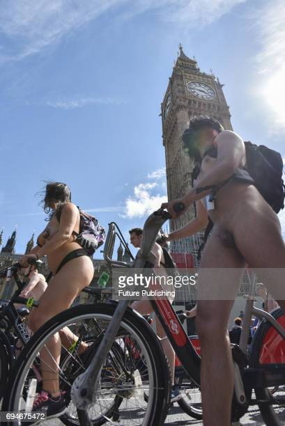 Hundreds of naked cyclists taking part in the World Naked Bike ride through Westminster on June 10 2017 in London England The World Naked Bike Ride...