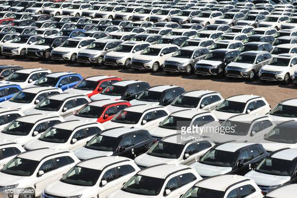 Hundreds of new cars seen in Eilat Harbor On Monday February 3 in Eilat Israel