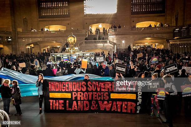 Hundreds of New Yorkers gathered at Grand Central Station in solidarity with the indigenous and nonindigenous allies who are on the frontlines in...