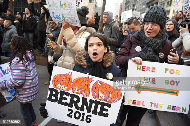Hundreds of New Yorkers gathered in Union Square Park to rally and march to Zuccotti Park on behalf of Democratic presidential candidate Bernie...