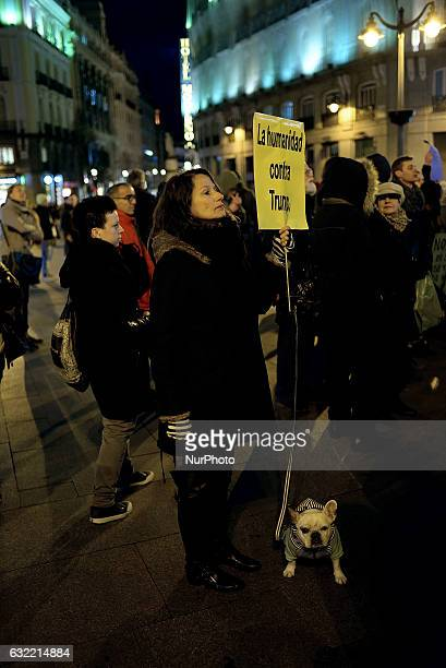 Hundreds of North American resident young persons in Spain have organized a march in the center of Madrid on 20th January 2017 against Donald Trump's...