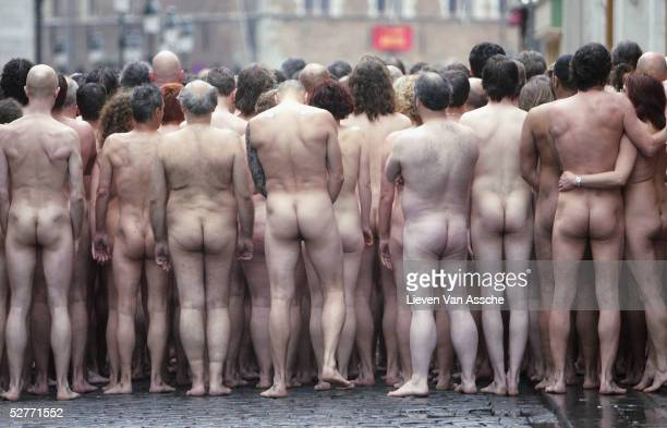 Hundreds of nude models prepare for an installation by the controversial US contemporary artist and photographer Spencer Tunick, for the opening of...