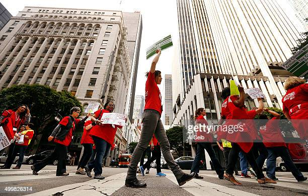 LOS Hundreds of nurses and environmental activists marched through downtown Thursday December 03 2015 to converge on Pershing Square in Los Angeles...