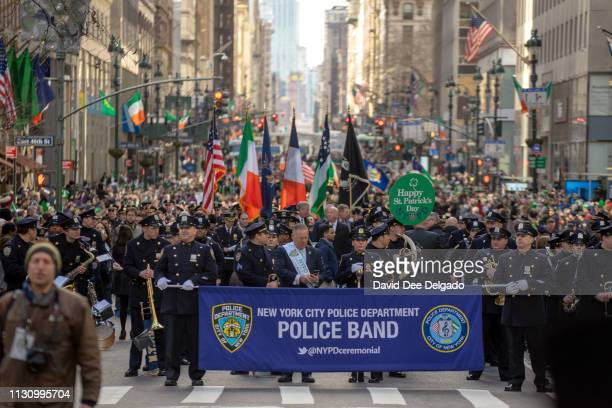Hundreds of officers and service members gather for the 2019 annual St Patrick's Day parade on March 16 2019 in New York City The New York City St...