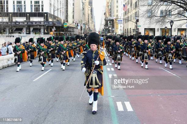 Hundreds of officers and service members gather for the 2019 annual St Patrick's Day parade on March 16 2019 in New York City