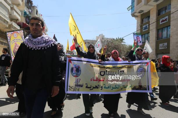 Hundreds of Palestinians rally demanding the release of the Palestinian prisoners in Israeli jails during the Palestinian Prisoners Day in Gaza city...