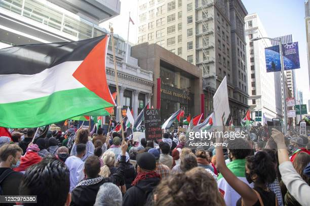 Hundreds of people are gathered in front of the general consulate of Israel to demonstrate in support of Palestinians in San Francisco, California,...