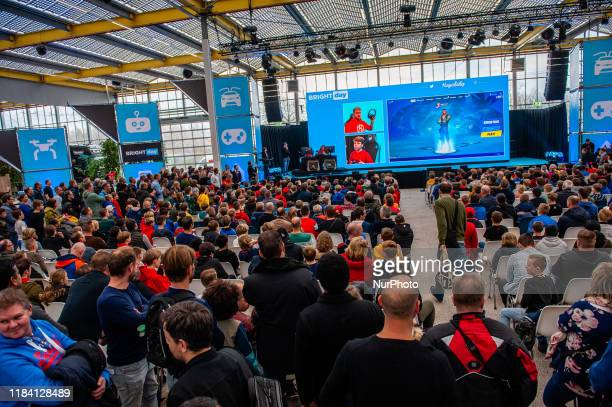 Hundreds of people are seen watching Roy Beszelsen aka Royalistiq is a Dutchlanguage gaming YouTuber during the Bright Day Festival in Amsterdam on...