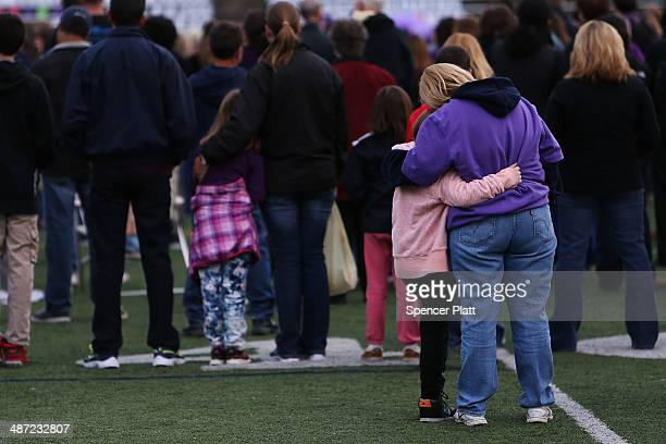 Hundreds of people attend a candlelight vigil at Jonathan Law High School after the death of Maren Sanchez who was stabbed to death Friday morning...