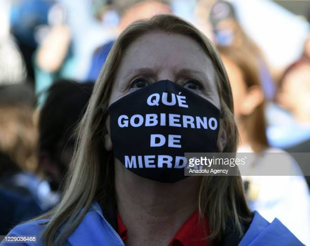 Hundreds of people attend a protest against the policies of the government of Argentinian President Alberto Fernandez and the quarantine amid strict...